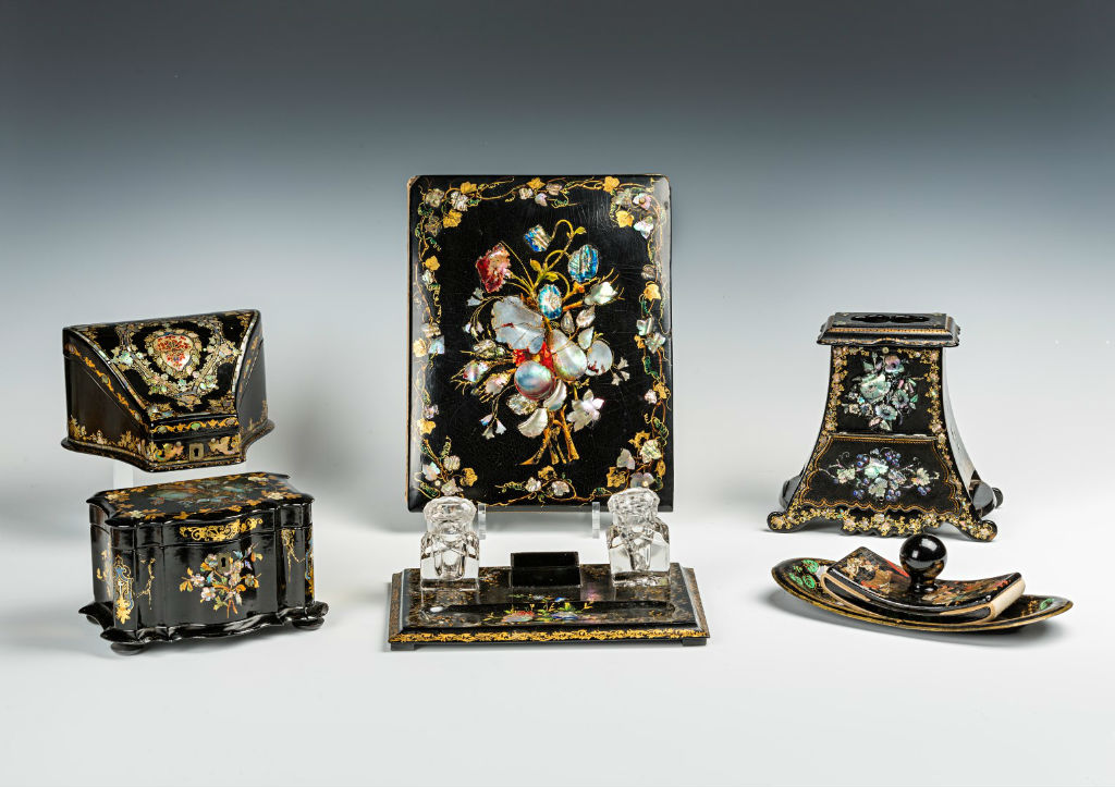 A mid Victorian composite papier maché desk set, possibly Birmingham 1870s.