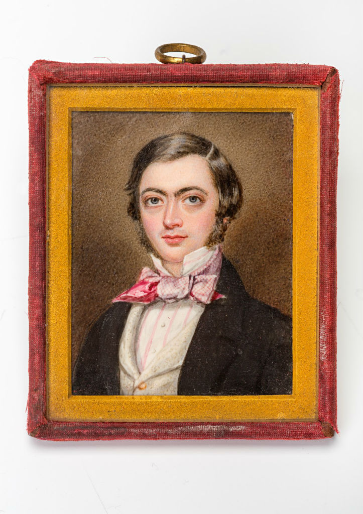 A miniature of William Alleyne, Lord Burghley, by William Egley, signed, inscribed and dated 1848.