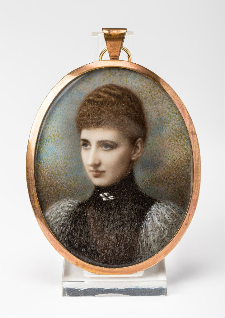 A tinted photograph of Isabella, wife of 4th Marquess of Exeter, by K. Hargreaves.