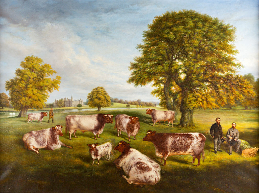 Prize Cattle in the Grounds of Burghley, signed W.R. Woods/1874.