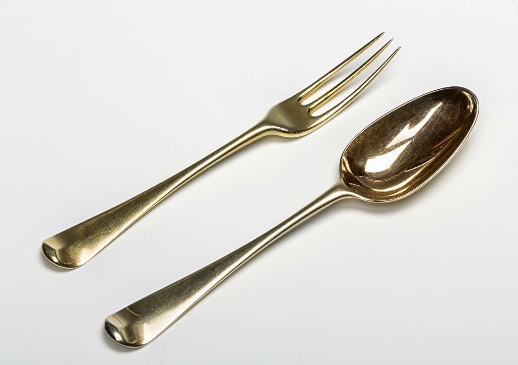 A George II, and later, silver-gilt table service.