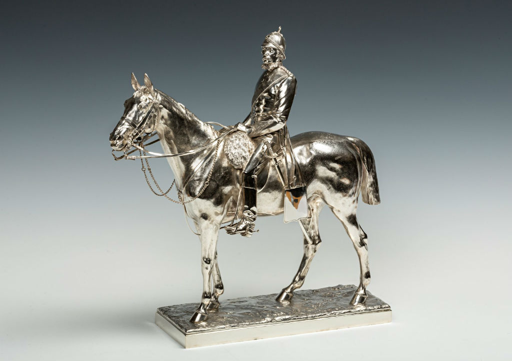 A Victorian silver equestrian statuette of William Alleyne, 3rd Marquess of Exeter, mark of Charles Frederick Hancock, London, 1888.