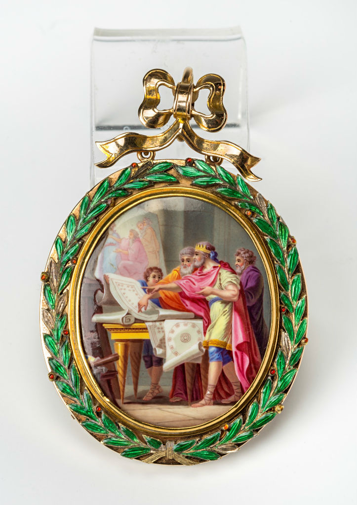 A French gold-mounted enamel plaque, late 18th Century.
