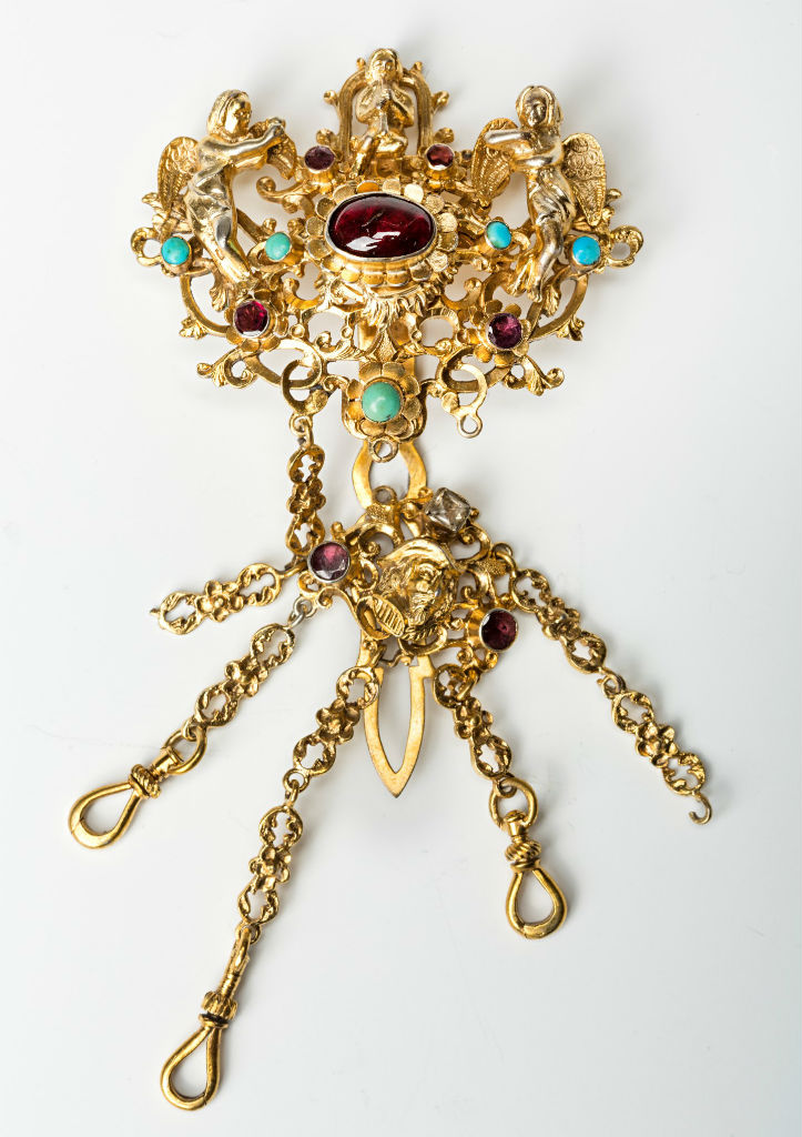 A late 19th Century silver-gilt chatelaine.
