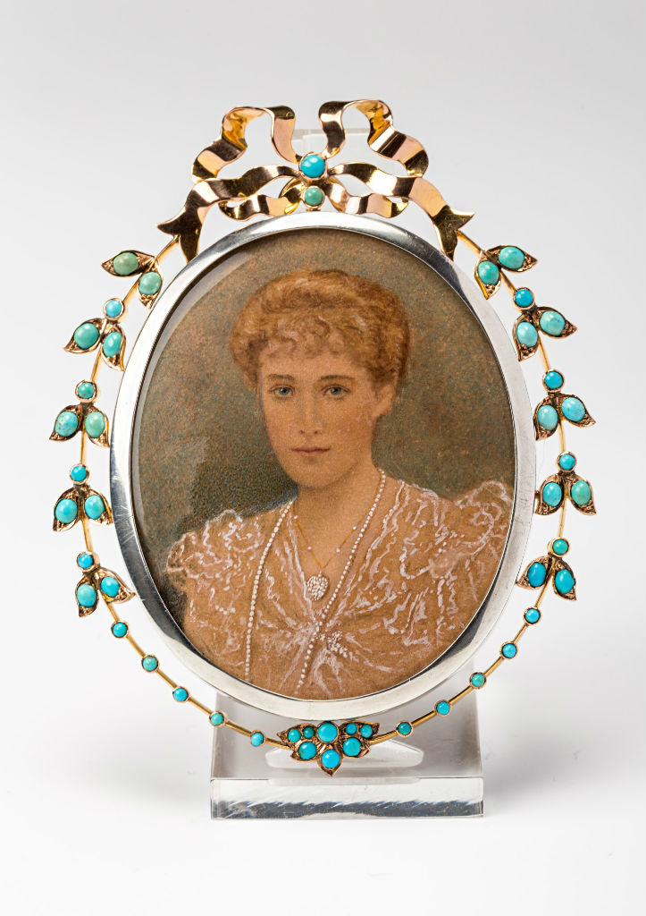 A watercolour miniature of Myra, wife of William, 5th Marquess of Exeter.