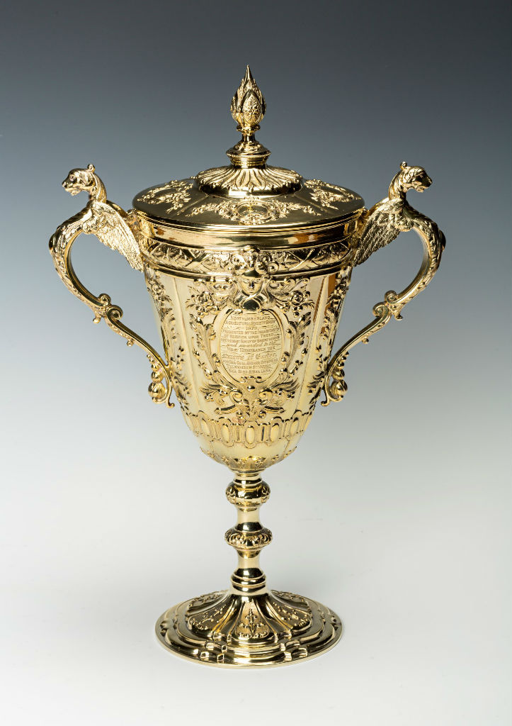 A Victorian vase-shaped silver-gilt cup and cover, by James Dixon & Sons, Sheffield, 1876.