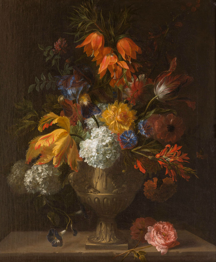 A Still Life of Flowers including Crown Imperial Lilies and Tulips by Jean Baptiste Monnoyer (1636-1699).