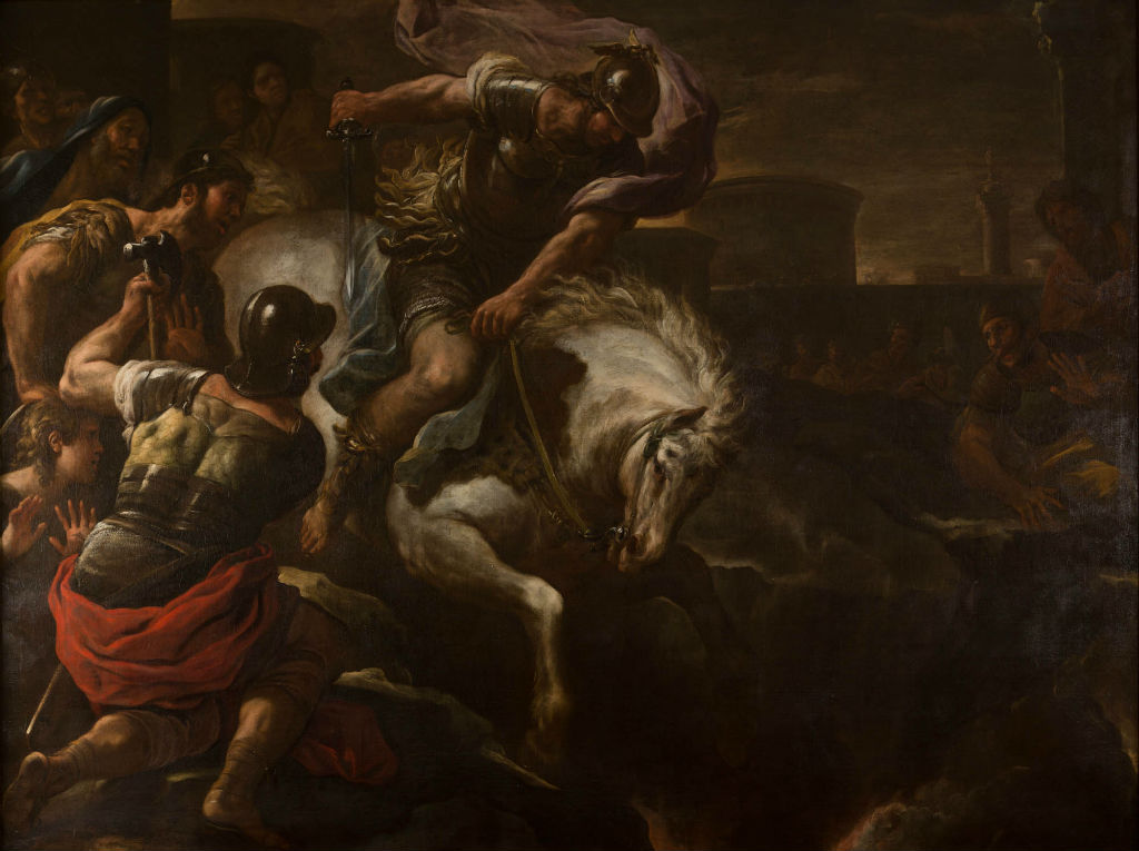 Marcus Curtius Leaping into the Chasm, by Luca Giordano (1632-1706).by