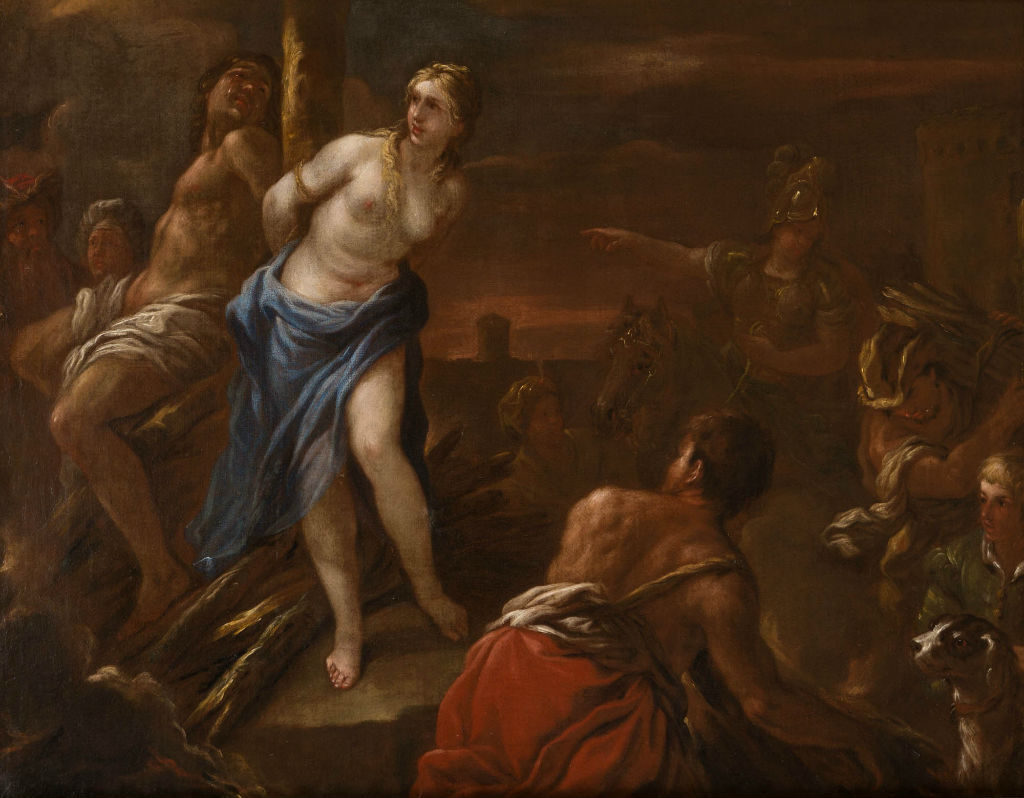 Olindo and Sophronia tied to the stake, Studio of Luca Giordano (1632-1706).
