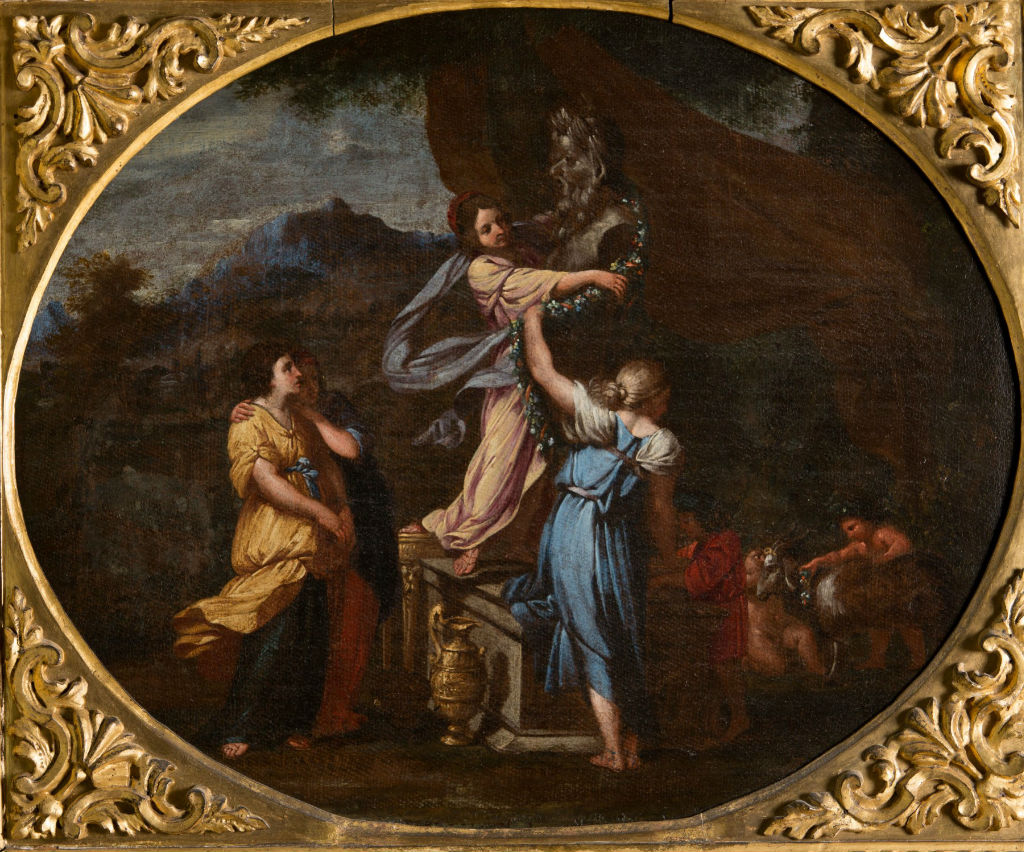 Nymphs Adorning a Statue of Pan, Roman School, circa 1650.