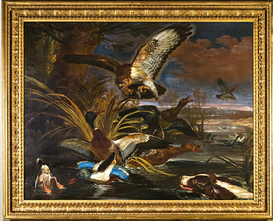 A Spaniel and Eagle Surprising Duck, by David de Coninck (c.1636-c.1699)