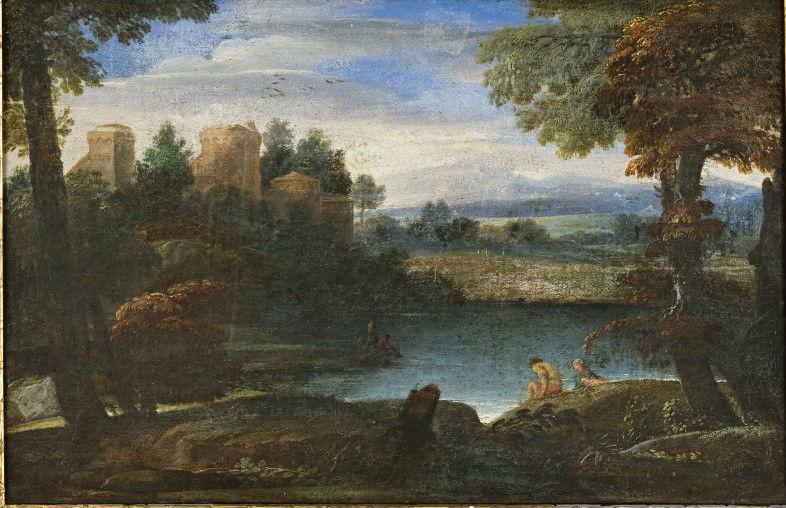 A Landscape with Figures near a Lake, by Giovanni Francesco Grimaldi, Il Bolognese (1606-1680).