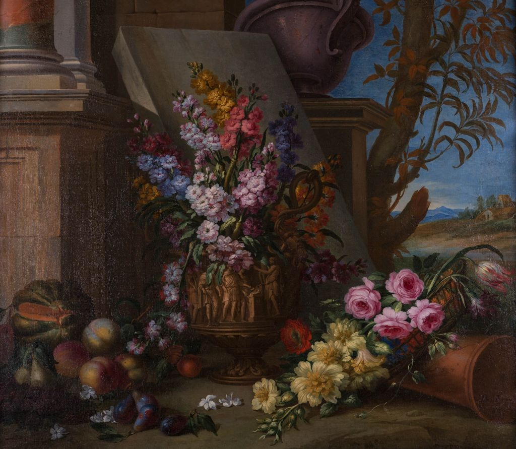 Flowers in an Urn with Fruit in a Landscape, by Louis Vagnier.