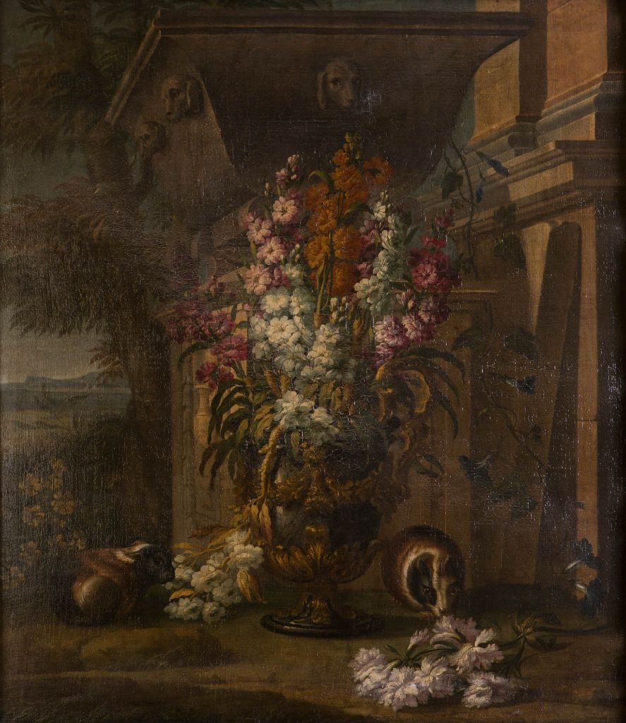 A Still Life of Flowers and Guinea Pigs, by Louis Vagnier.