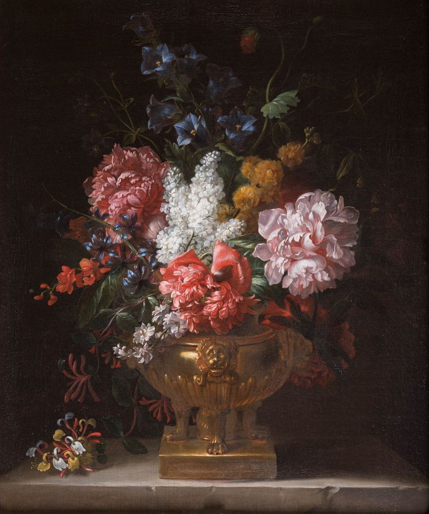 A Still Life of Flowers, including Peonies, in a Gilt Bronze Urn, by Jean Baptiste Monnoyer (1636-1699)