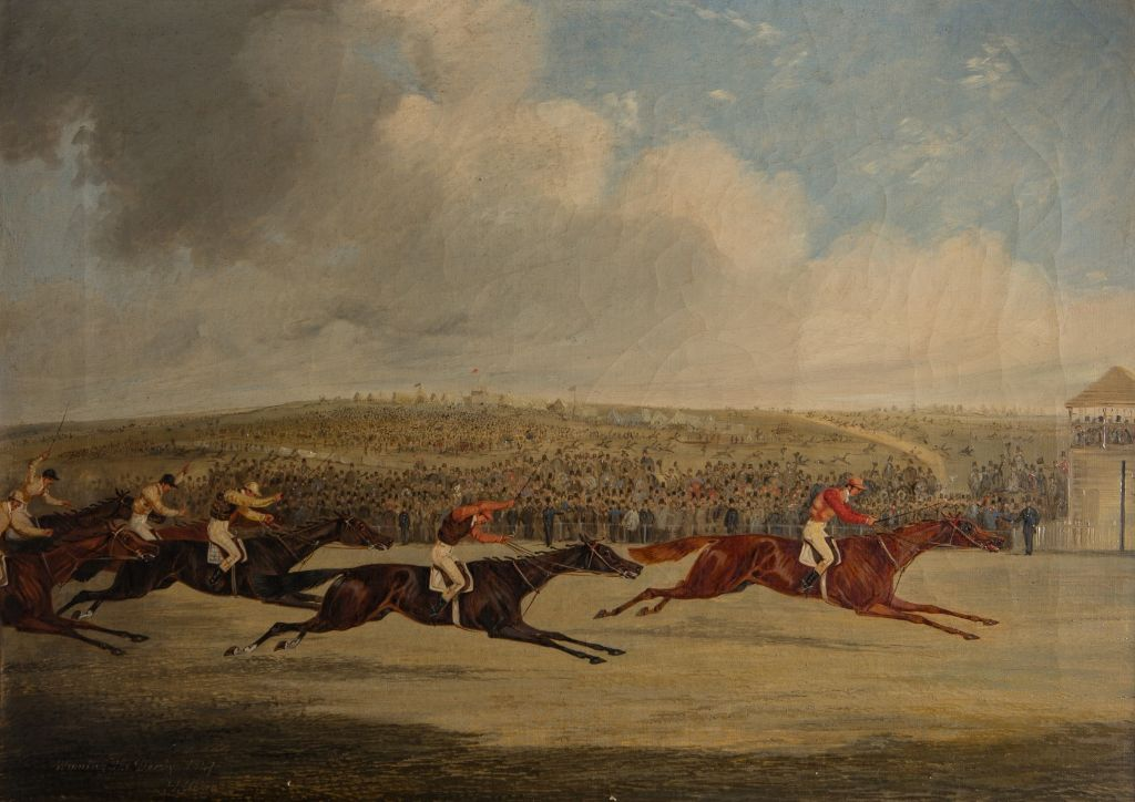 The Finish of the Derby, 1874, by Henry Thomas Alken (1785-1851).