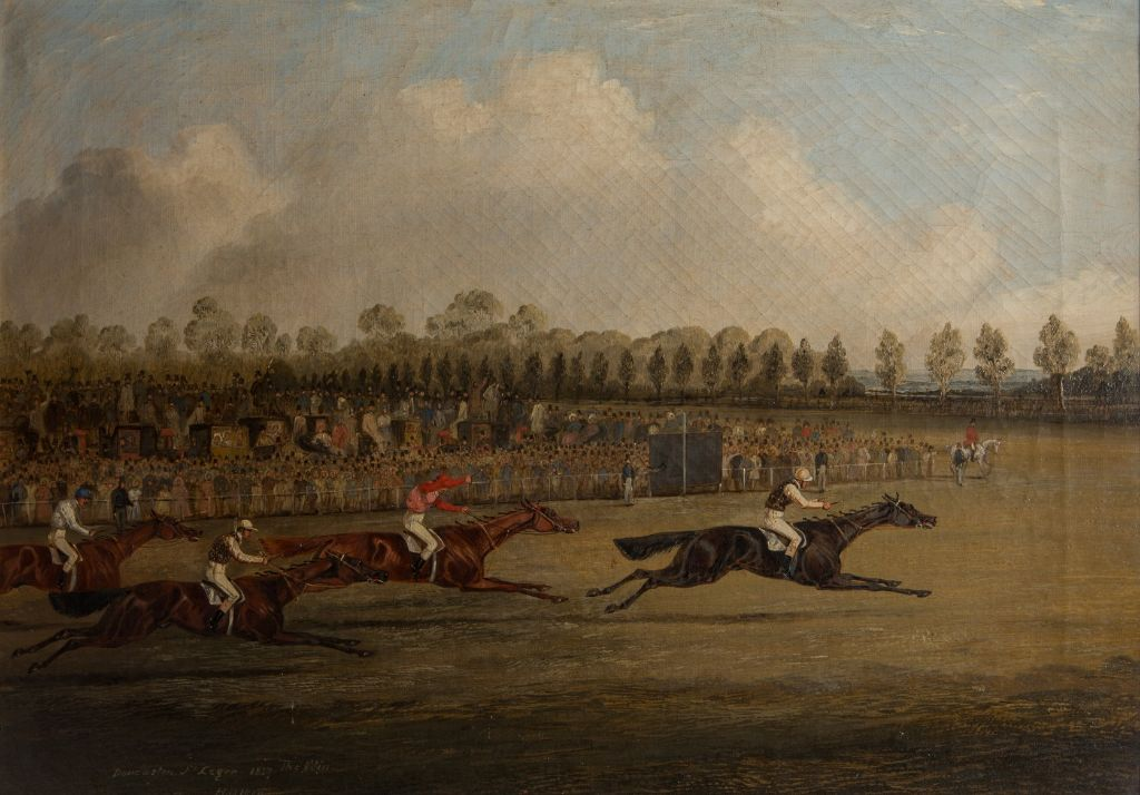 The Winning of the Doncaster St. Leger, 1847, by Henry Thomas Alken (1785-1851).