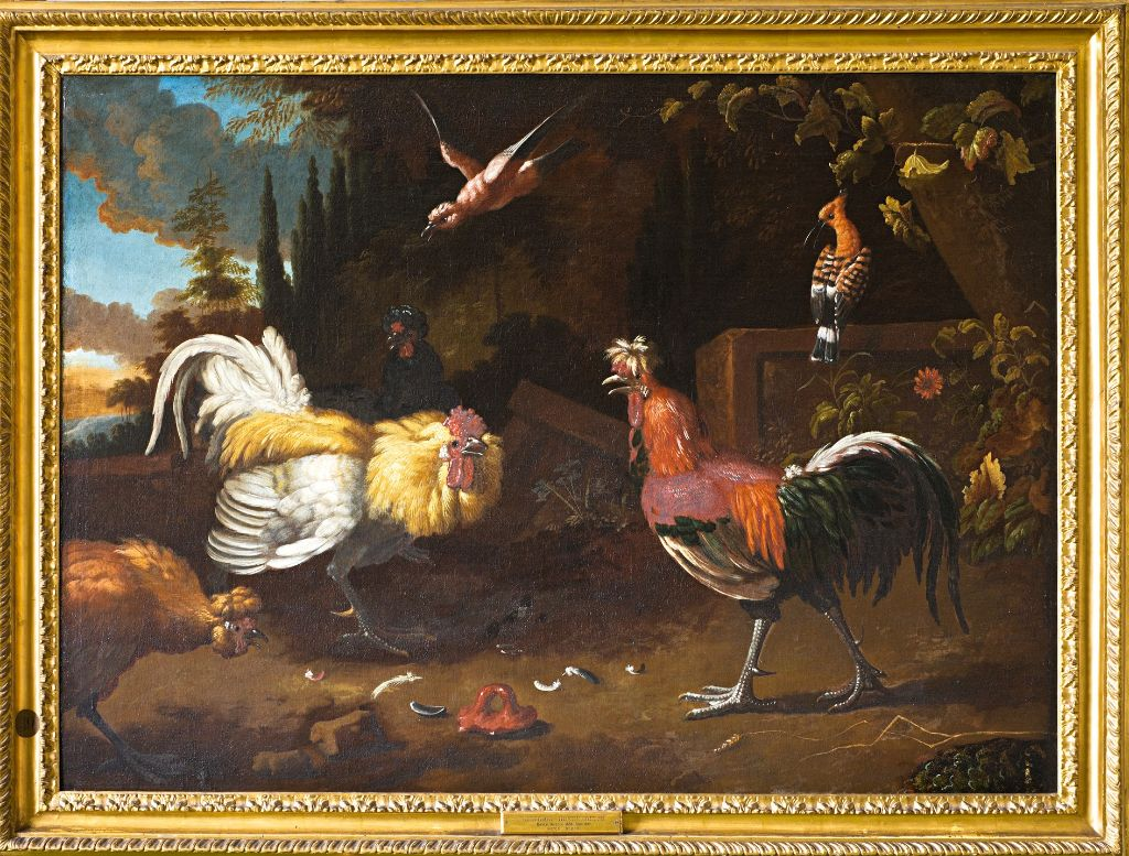 Two Fighting Cocks, Follower of Melchior d'Hondecoeter (1636-1695).