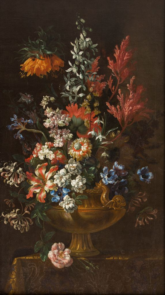 A Still Life of Flowers with Crown Imperial Lilies and Anenomes, in a Gilt Urn on a Draped Table, by Jean Baptiste Monnoyer (1636-1699) and Studio.