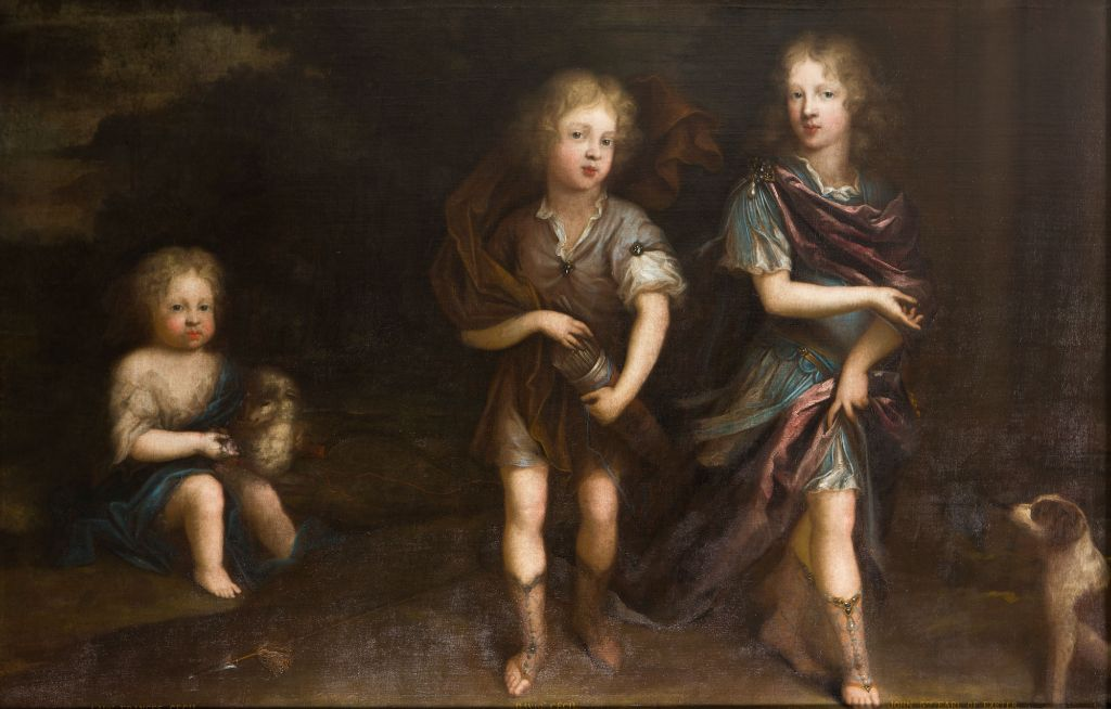 Portrait of John, Lord Burghley, later 5th Earl of Exeter with his Brother David and his Sister Frances, when Children, with a Dog and a Lamb, Circle of Jacob d'Agar (1640-c.1715).
