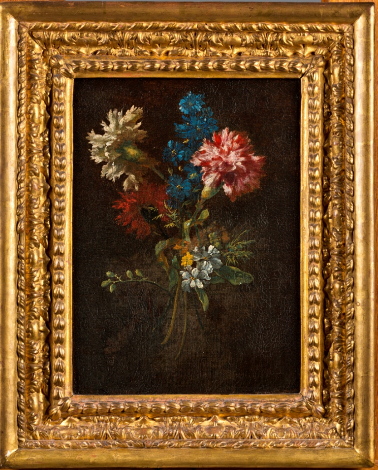 Still Life of a Tied Bunch of Flowers, with Carnations, French School, 18th Century.