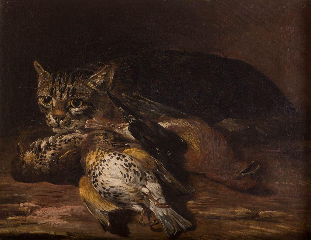 A Cat Guarding Songbirds, by David de Coninck (c1636-c1699).