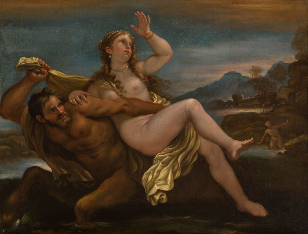 The Rape of Deineira by Nessus,  Studio of Luca Giordano (1632-1706).