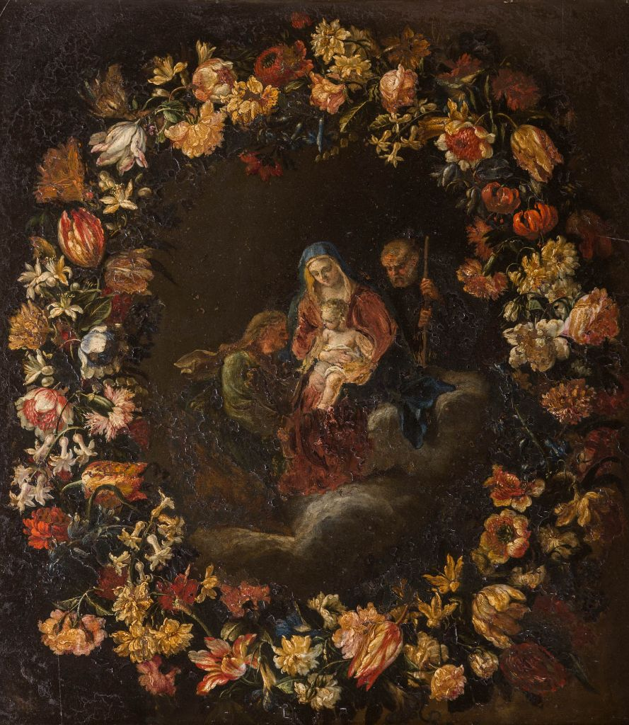 The Madonna, Child and Shepherds within a Garland of Flowers, by a Follower of Filippo Lauri (1623-1694) and Mario Dei Fiori (1603-1673).