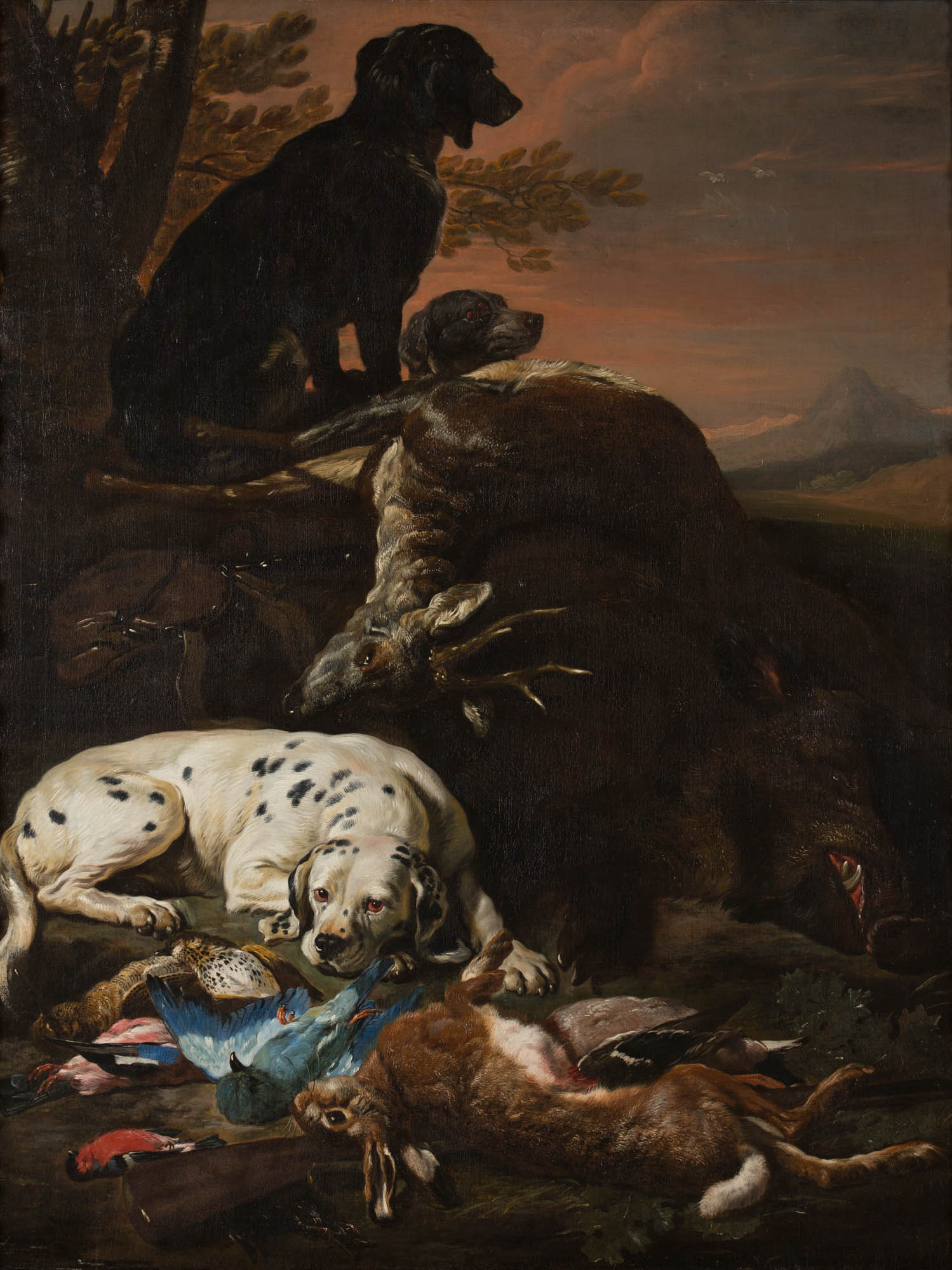 Hounds with a Dead Stag, a Hare and other Game, in a Landscape, by David de Coninck (c1636-c1699).