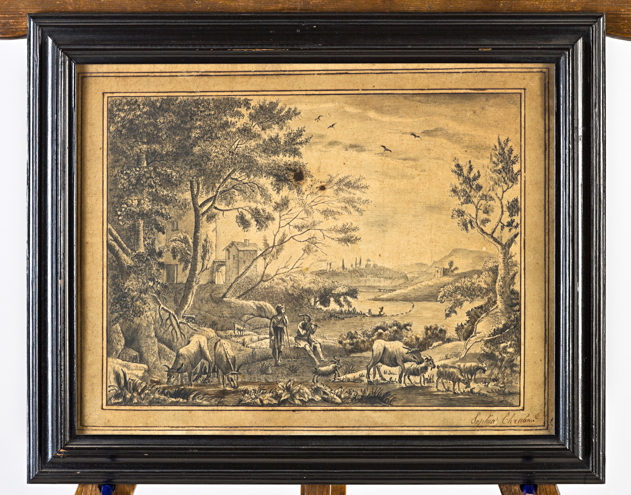 Two Classical landscapes with fishermen, shepherds and animals, by Elizabeth Chaplin & Sophia Chaplin.