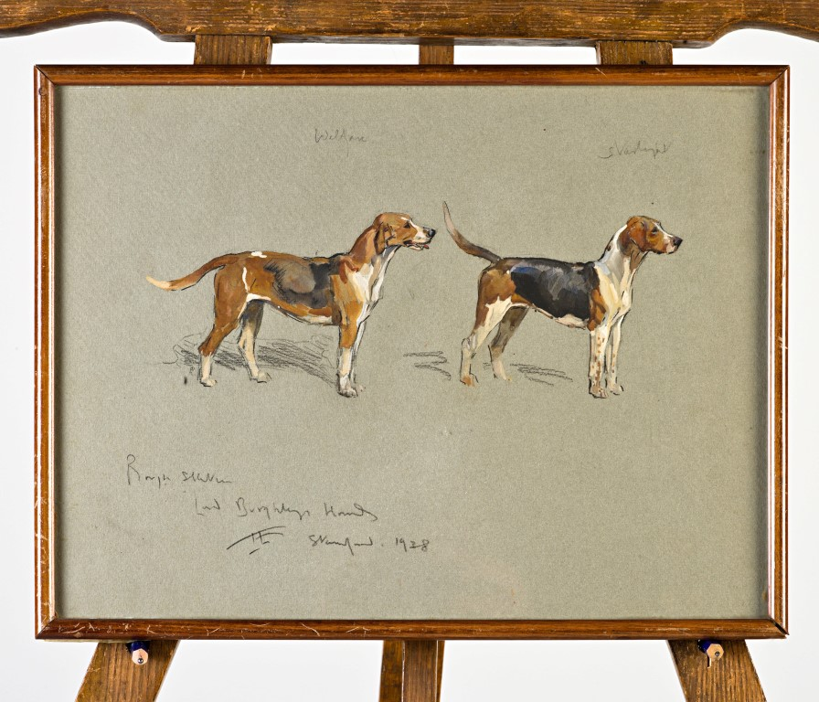 Lord Burghley's hounds, 'Ranter' and 'Agent'; and 'Welfare' and 'Starlight', by Lionel Dalhousie Robertson Edwards (1878-1966).