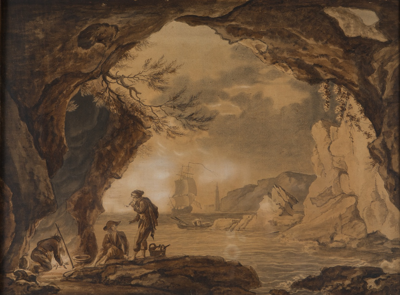 Italian Fishermen in a Rocky Cove, 1771, by Henry Cecil (1754-1804).