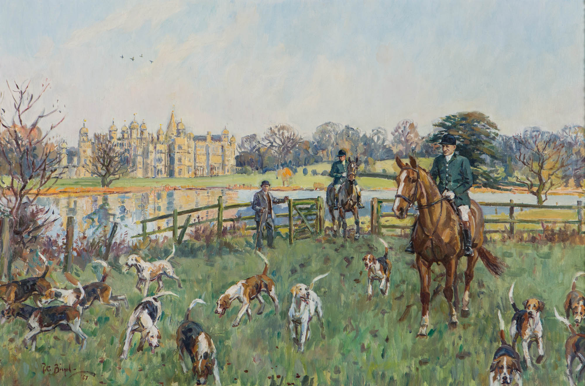 The 6th Marquess of Exeter, with his Hounds at Burghley, by Peter Biegel (1913-1988).