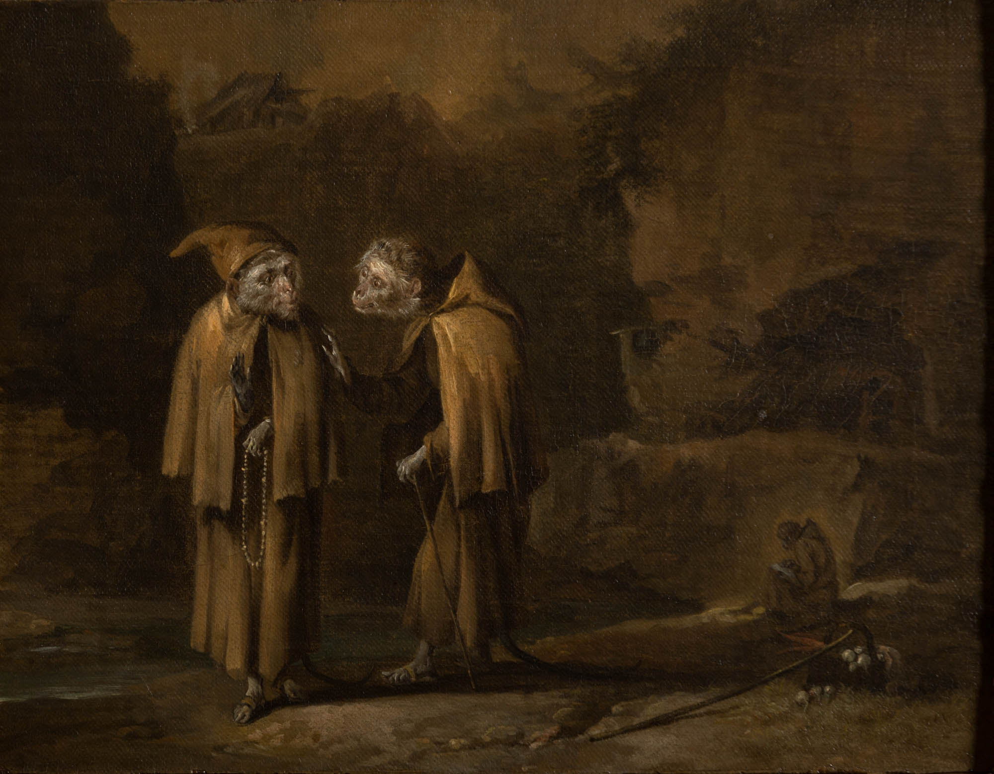 Two Capuchin monkeys dressed as monks in a landscape, Circle of David Teniers the Elder (1582-1649).