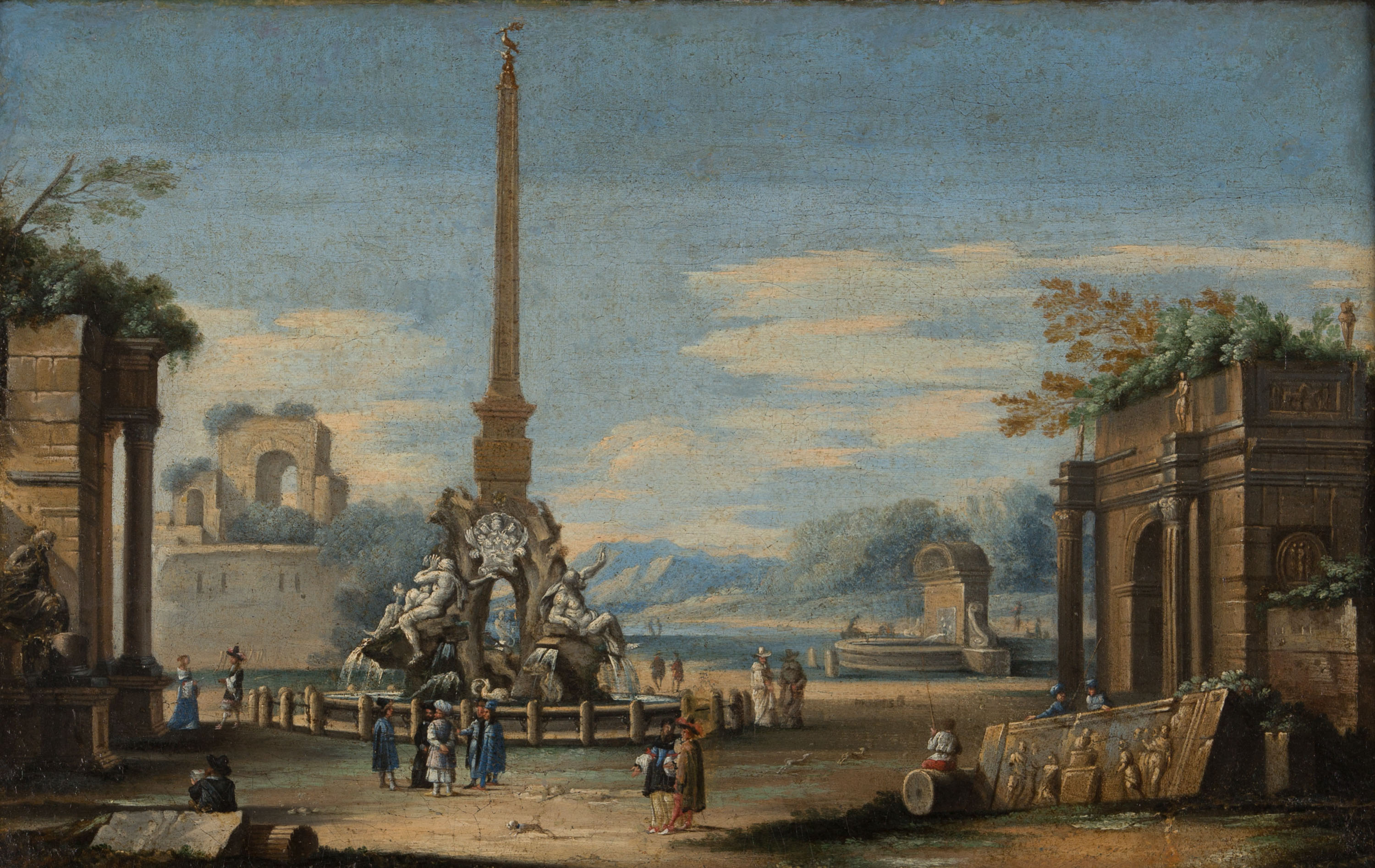 An Architectural Caprice with Bernini's Fountain, Circle of Gennaro Greco, Il Mascacotta (1663-1714).
