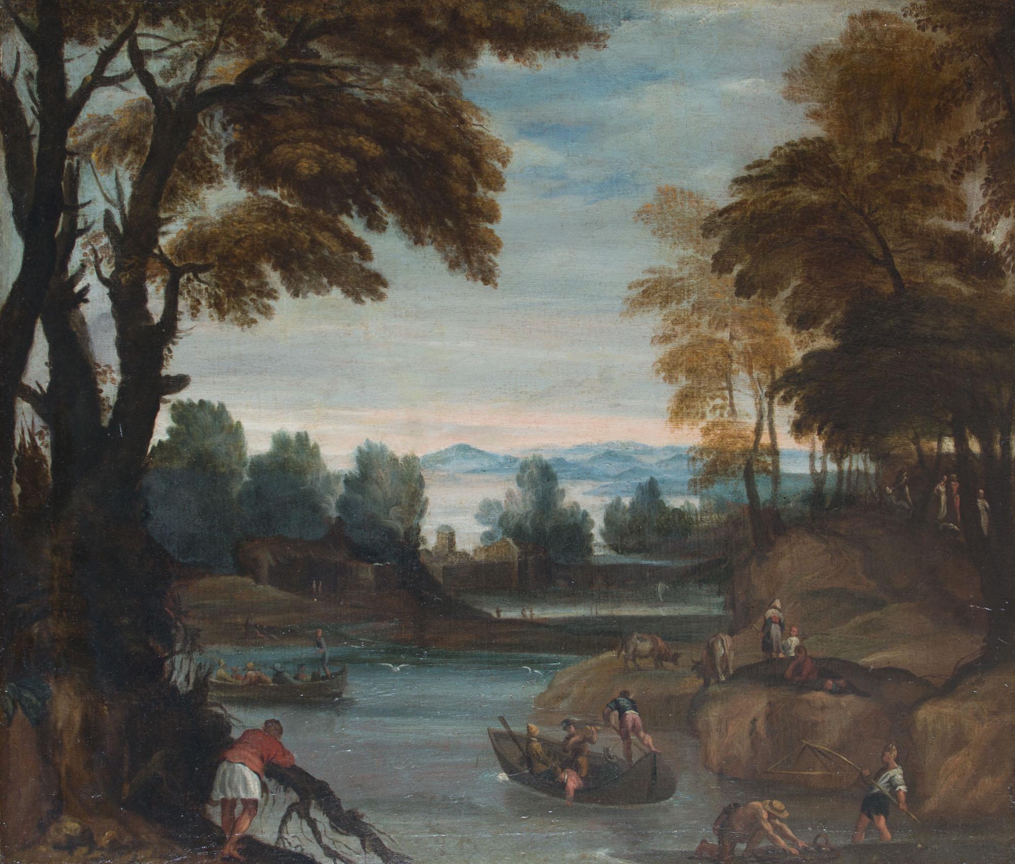 A Landscape with Boatmen, Attributed to Giovanni Francesco Grimaldi, il Bolognese (1606-1680).