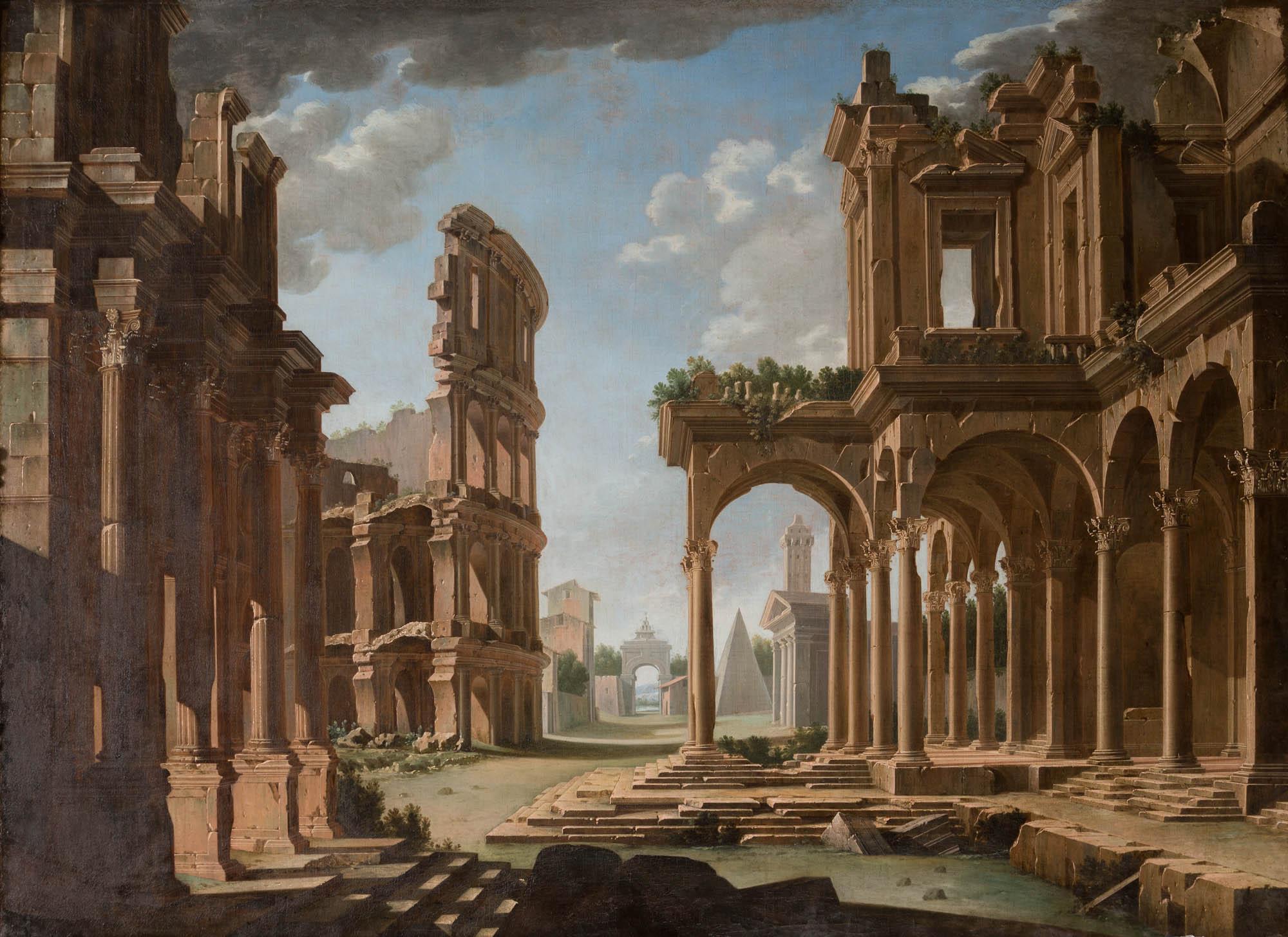 An Architectural Caprice, by Niccolo Codazzi (1642-1693).