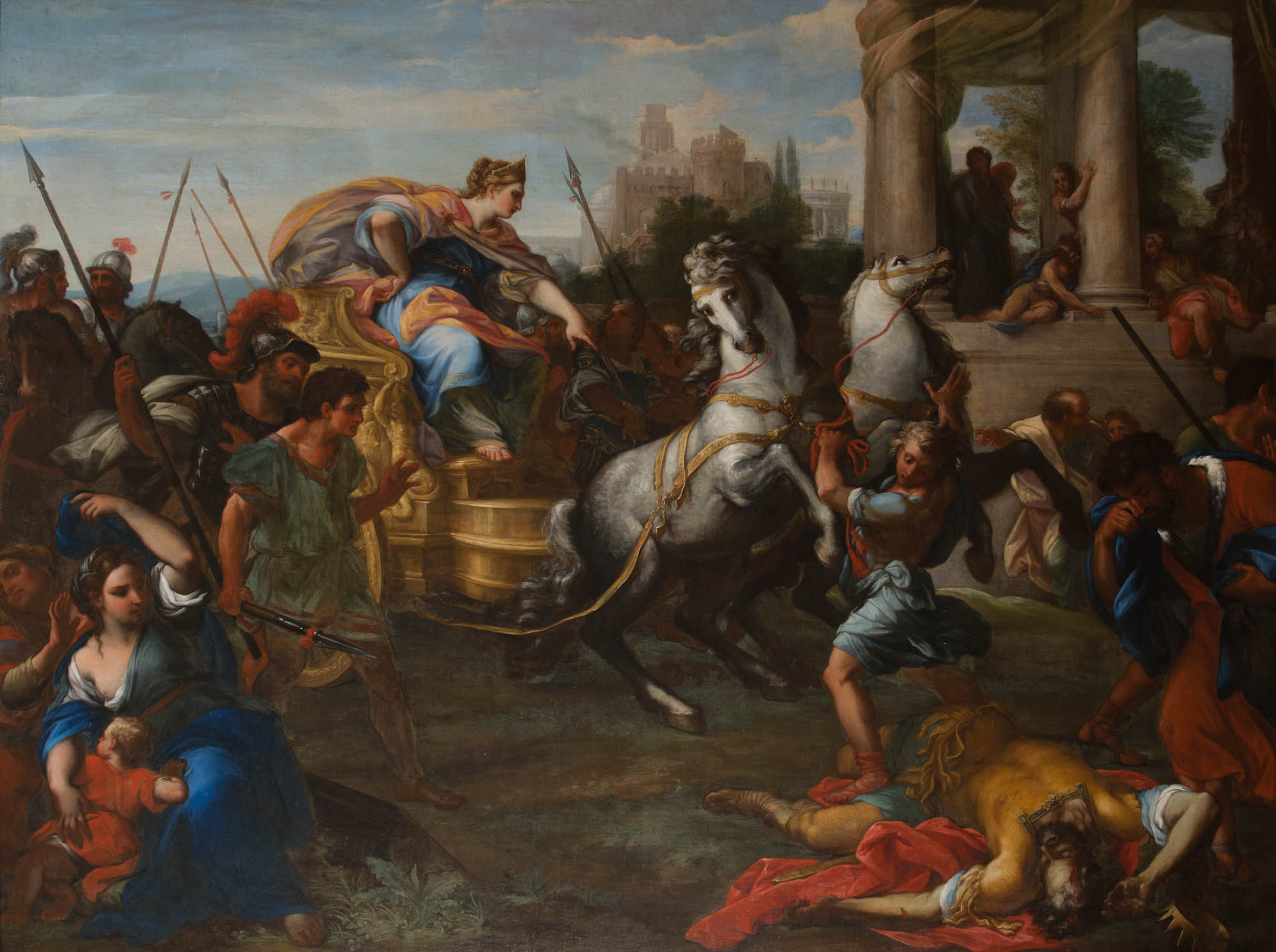 Tullia driving her Chariot over her Father,  by Giuseppe Bartolomeo Chiari (1654-1727).