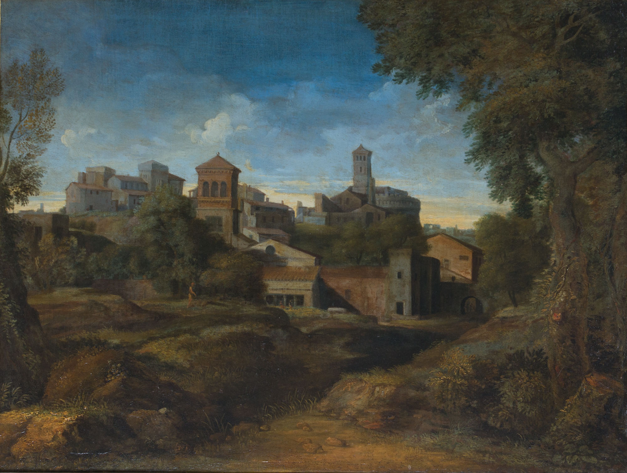 A Classical Landscape with a Town, by Gaspard Dughet, called Gaspard Poussin (1615-1675).