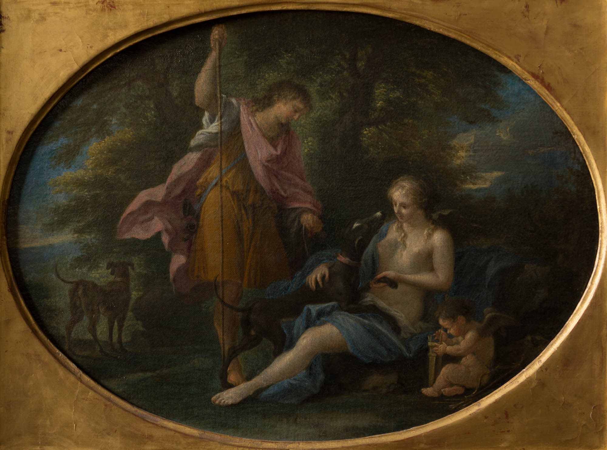 Venus and Adonis, by  Filippo Lauri (1623-1694).