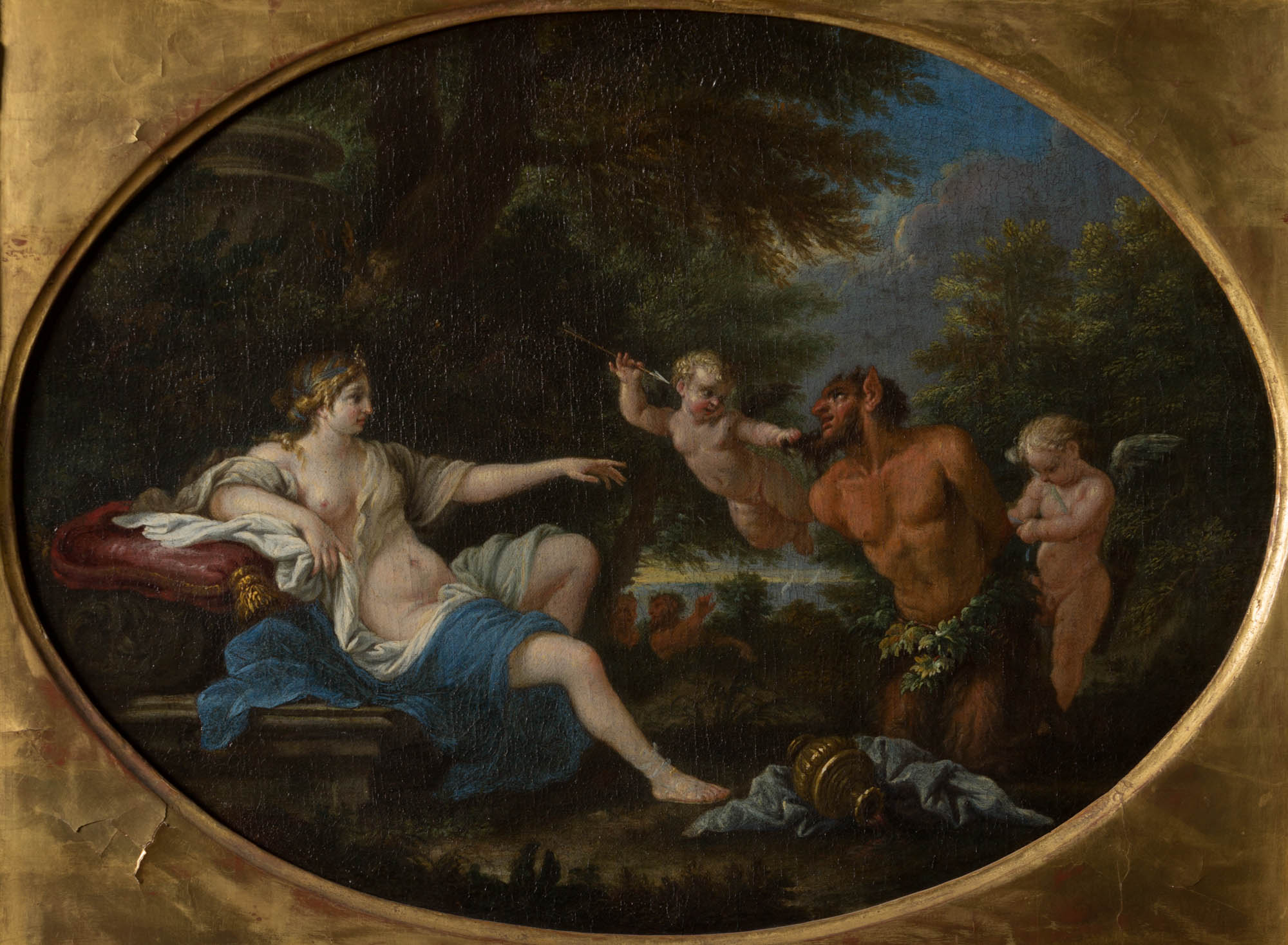 A Satyr Brought Before Venus, by Filippo Lauri (1623-1694).