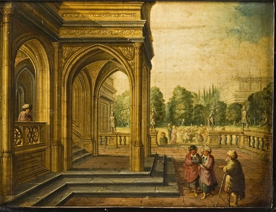 An Architectural Caprice with Figures before a Portico, by Dirck Christiaen Van Delen (1604-1671).