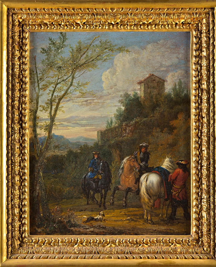 Cavaliers in a Landscape, by Adam Frans Van Der Meulen (1632-1690).