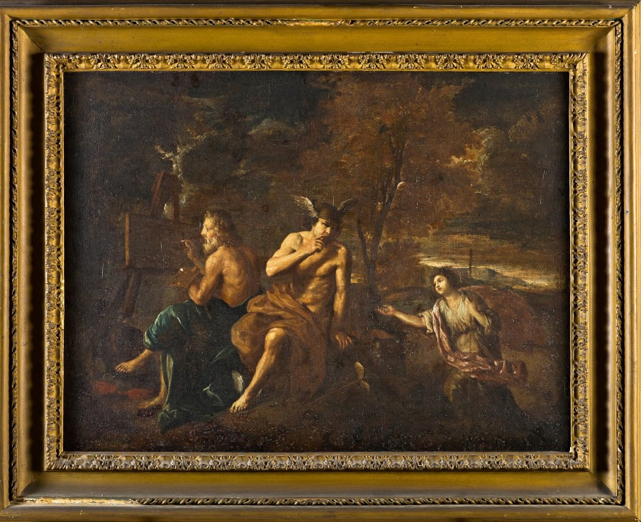 Jupiter Painting with Mercury and Diana Attending, Follower of Pier Francesco Mola (1612-1666).