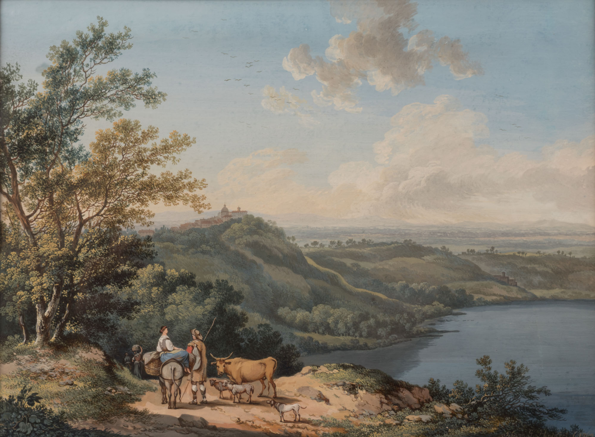 Drovers in a Landscape near a Lake, by Johann-Gottlieb Hackert (1744-1773).