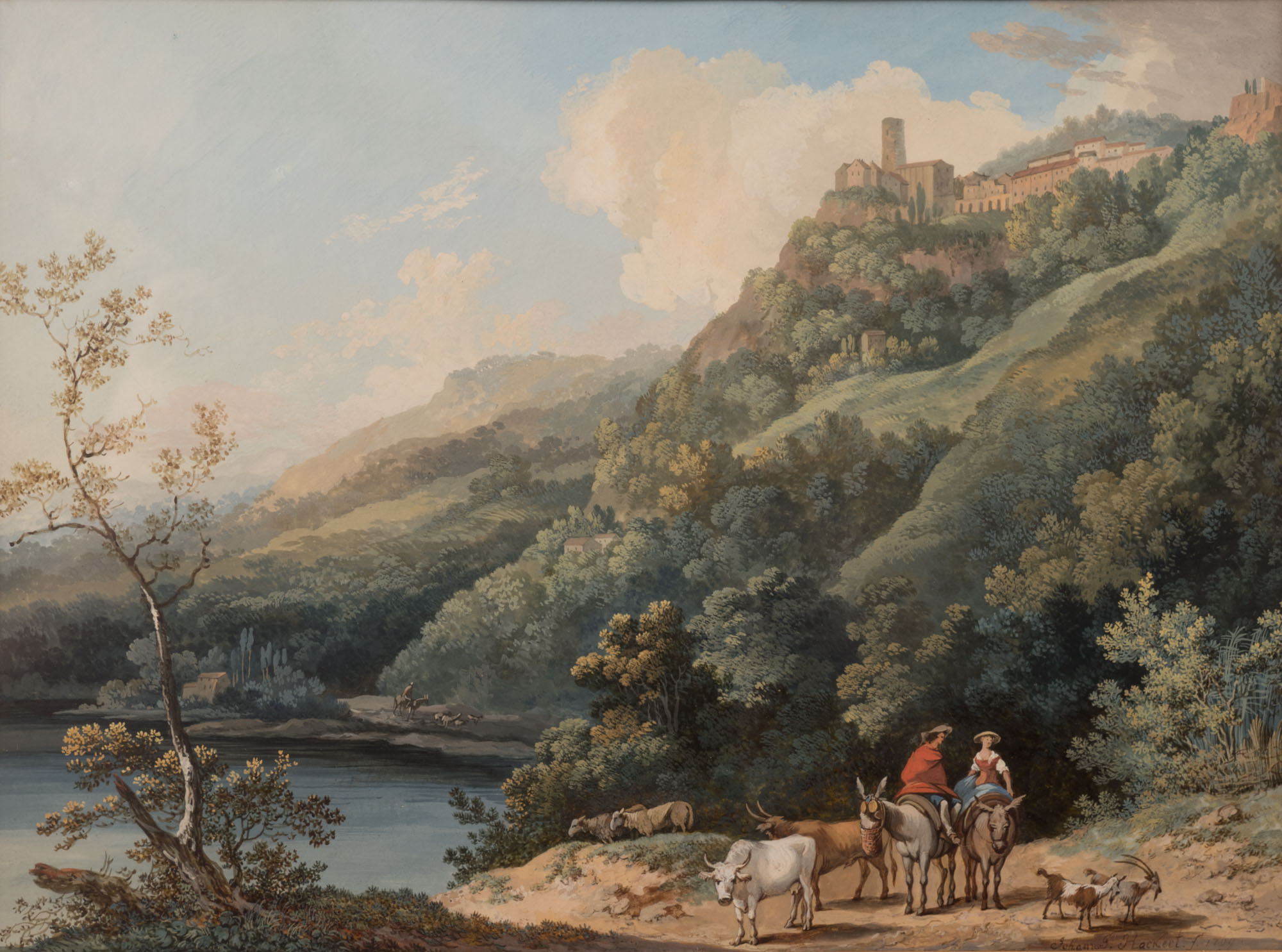 Drovers in a Landscape with a View of Castel Gandolfo, by Johann-Gottlieb Hackert (1744-1773).