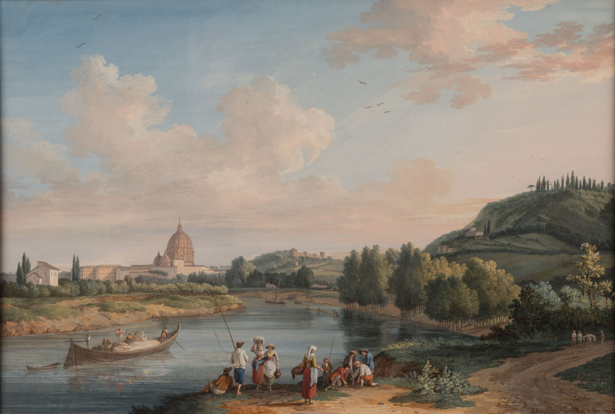 View on the River Tiber with St Peter's in the Distance, by Jakob Philipp Hackert (1737-1807).