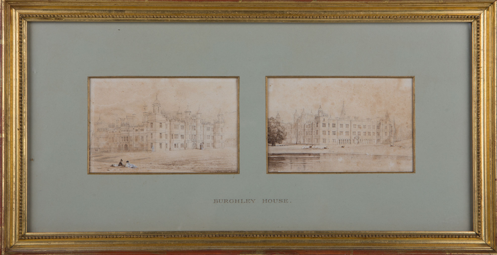 Two Views of Burghley House, by John Preston Neale (1780-1847).