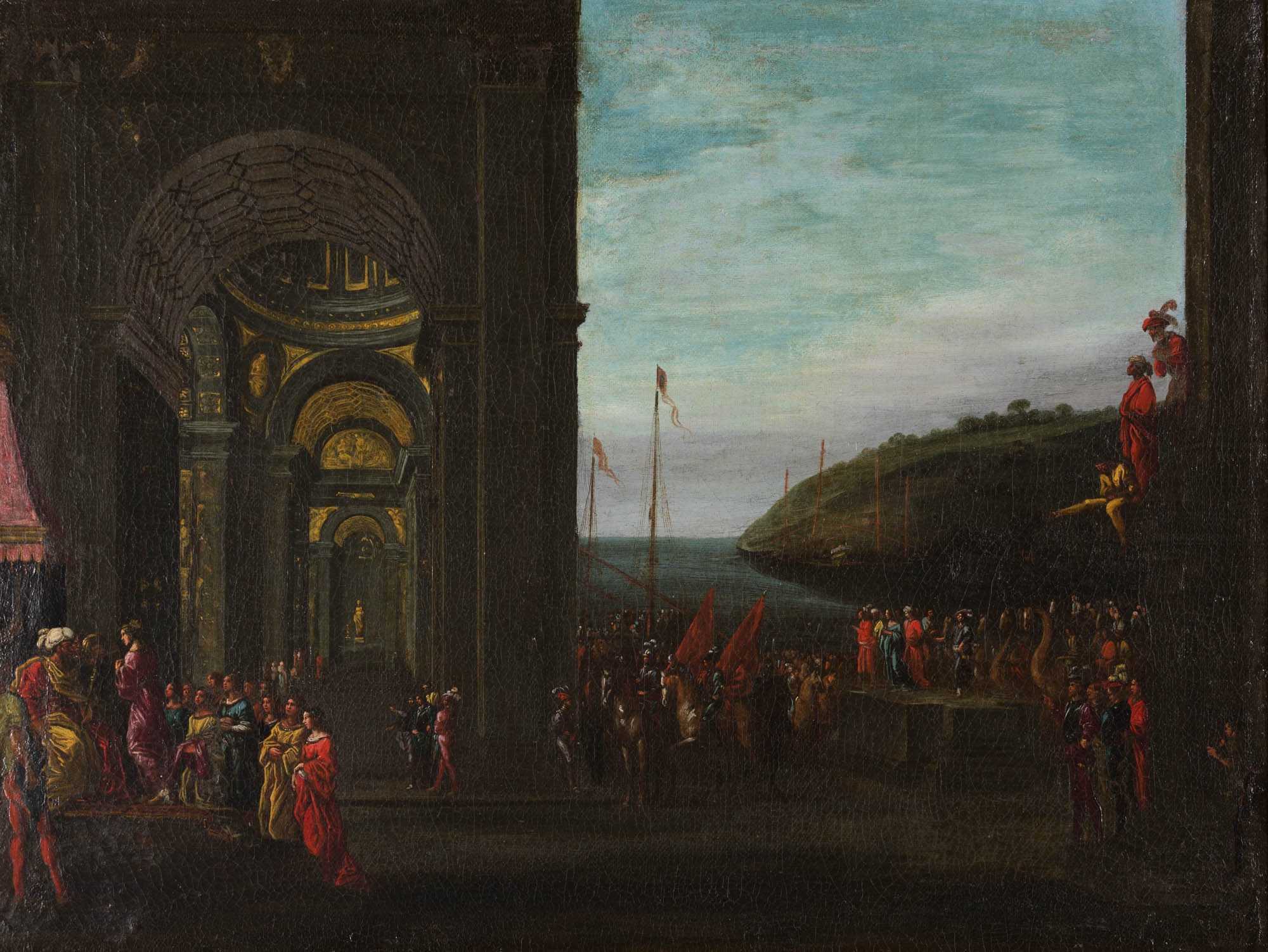 Solomon and the Queen of Sheba, Circle of Agostino Buonamici Tassi (1580-1644).
