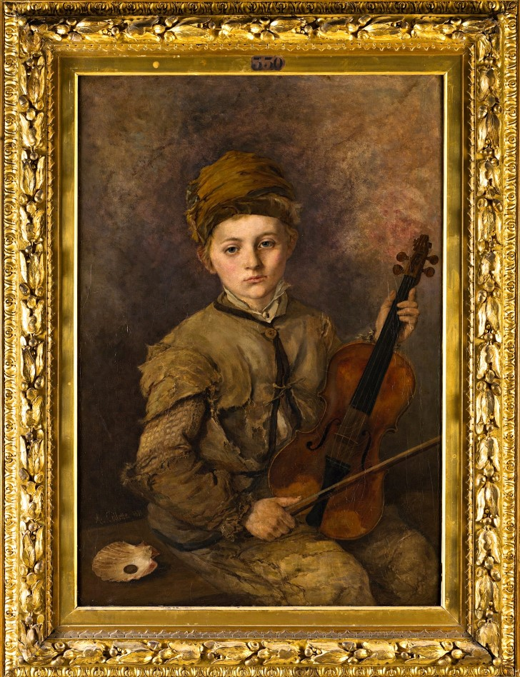A Young Musician by Alexandre Désiré Collette (1814-1876).